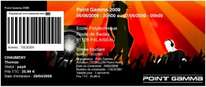 Billet, place, entrée, ticket, prévente pour le POINT GAMMA