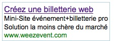 Campagne Adwords Weezevent Billetterie