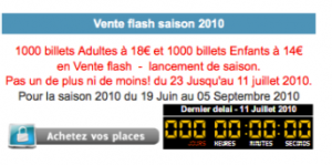 Vente flash billetterie !