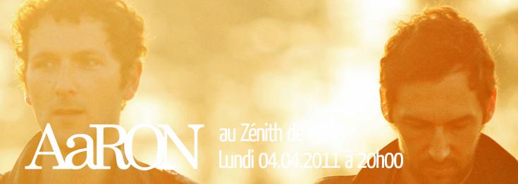 Billetterie d'AaRON au Zénith de Paris