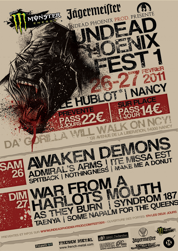 Une billetterie pour sa manifestation : Unded Phoenix Fest2011