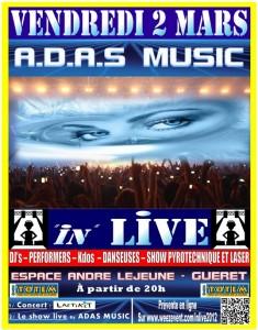 """A.D.A.S Music présente la soirée événement """"In"""" Live 2012 avec la billetterie loisir Weezevent"""