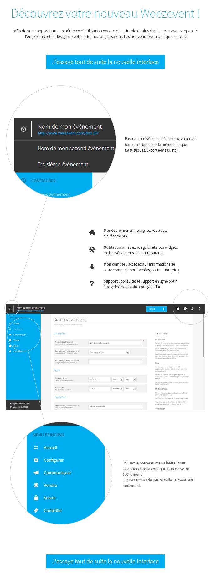 Profitez d'une interface plus claire et plus simple pour configurer vos billetteries en ligne !
