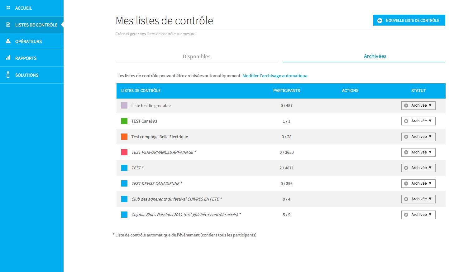 Archivage automatique des listes de contrôle