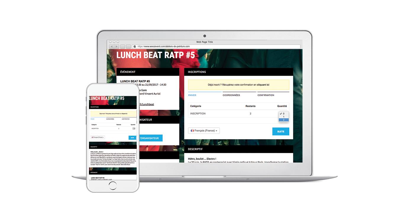 Exemple mini-site weezevent logiciel de billetterie